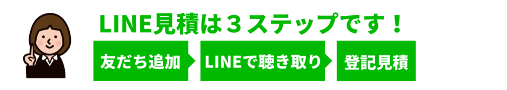 LINE見積は3ステップです!友だち追加LINEで聴き取り登記見積
