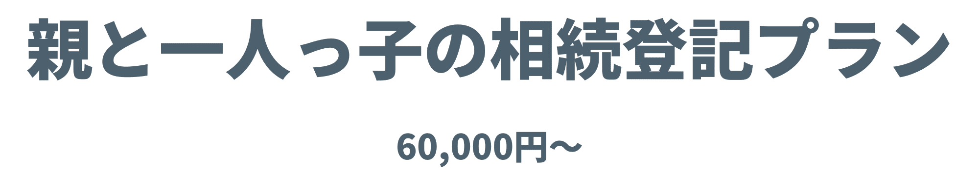 親と一人っ子の相続登記プラン60,000円~